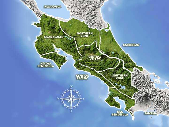 Costa Rica Regions and Destinations Map