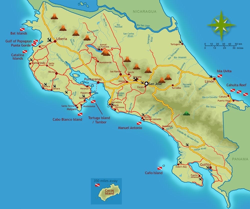 Maps of costa rica every map you need for your trip to costa rica top destinations beaches map gumiabroncs