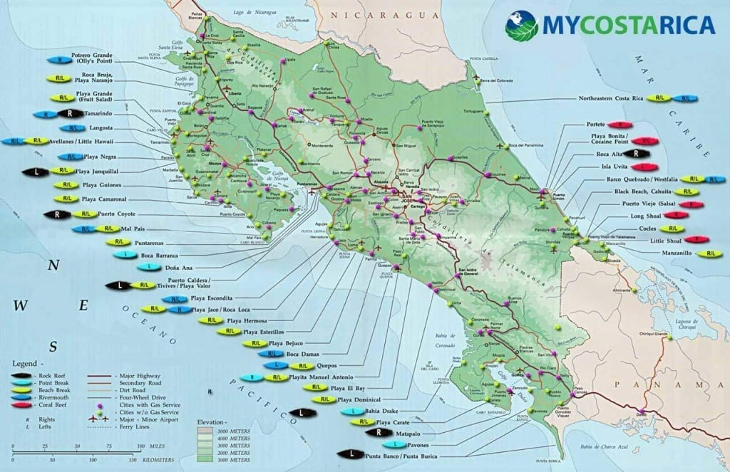 costa rica beach map