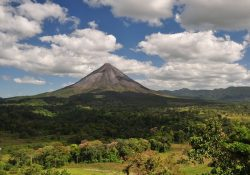 Arenal Volcano on a cloudy day
