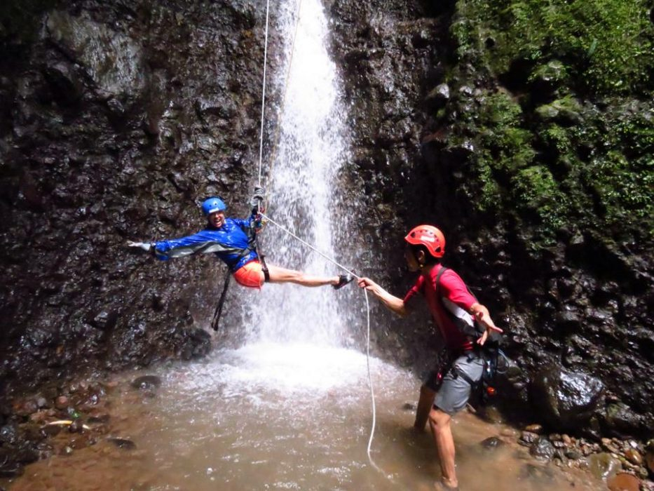 Arenal Canyoning Hanging From The Waterfall