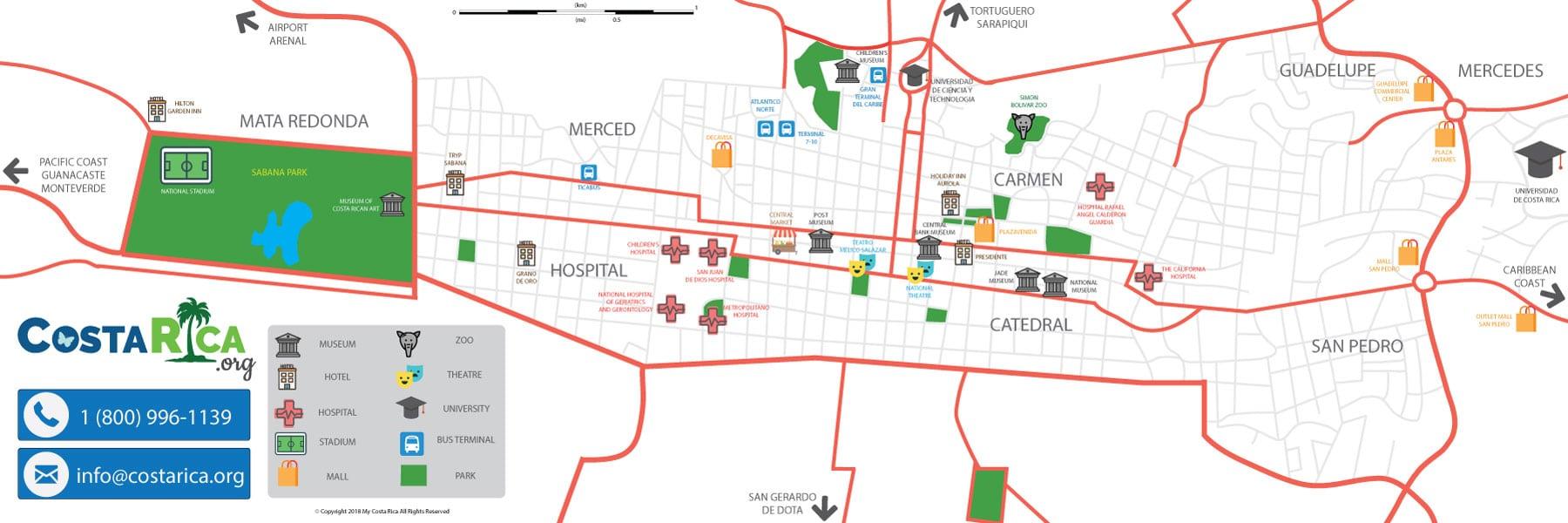 san jose costa rica zip code map San Jose Costa Rica Capital City International Airport