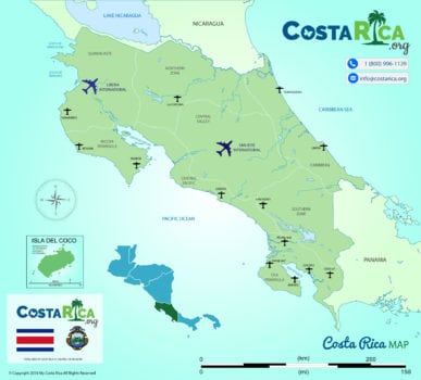 Costa Rica Airports Map